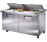 True 60-Inch 15.5 Cu.Ft. (2) Door Sandwich / Salad Prep Table, With (16) 1/6 Pans, (TSSU-60-16-DS-ST)