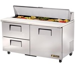True 60-Inch 15.5 Cu.Ft. (1) Door (2) Drawer Sandwich / Salad Prep Table, With (16) 1/6 Pans, (TSSU-60-16D-2)
