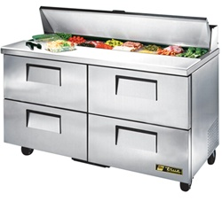 True 60-Inch 15.5 Cu.Ft. (4) Drawer Sandwich / Salad Prep Table, With (16) 1/6 Pans, (TSSU-60-16D-4)