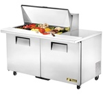 True 60-Inch 15.5 Cu.Ft. (2) Door Mega Top Sandwich / Salad Prep Table, With (18) 1/6 Pans, (TSSU-60-18M-B)
