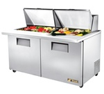 True 60-Inch 15.5 Cu.Ft. (2) Door Mega Top Sandwich / Salad Prep Table, With (24) 1/6 Pans, (TSSU-60-24M-B-ST)