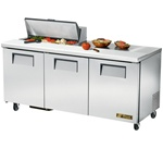 True 72-Inch 19 Cu.Ft. (3) Door Sandwich / Salad Prep Table, With (8) 1/6 Pans, (TSSU-72-08)