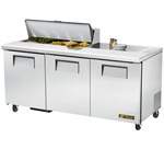 True 72-Inch 19 Cu.Ft. (3) Door Sandwich / Salad Prep Table, With (10) 1/6 Pans, (TSSU-72-10)