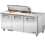True 72-Inch 19 Cu.Ft. (3) Door Sandwich / Salad Prep Table, With (12) 1/6 Pans, (TSSU-72-12)