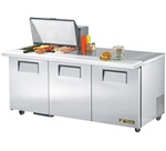 True 72-Inch 19 Cu.Ft. (3) Door Sandwich / Salad Prep Table, With (12) 1/6 Pans, (TSSU-72-12M-B)