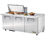True 72-Inch 19 Cu.Ft. (3) Door Sandwich / Salad Prep Table, With (15) 1/6 Pans, (TSSU-72-15M-B)