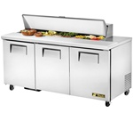 True 72-Inch 19 Cu.Ft. (3) Door Sandwich / Salad Prep Table, With (16) 1/6 Pans, (TSSU-72-16)