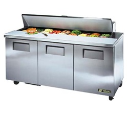 True 72-Inch 19 Cu.Ft. (3) Door Sandwich / Salad Prep Table, With (18) 1/6 Pans, (TSSU-72-18)
