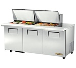True 72-Inch 19 Cu.Ft. (3) Door Mega Top Sandwich / Salad Food Prep Table, With (24) 1/6 Pans, (TSSU-72-24M-B-ST)