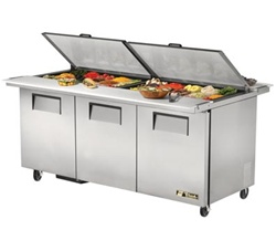 True 72-Inch 19 Cu.Ft. (3) Door Mega Top Sandwich / Salad Prep Table, With (30) 1/6 Pans, (TSSU-72-30M-B-DS-ST)