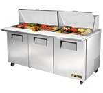True 72-Inch 19 Cu.Ft. (3) Door Mega Top Sandwich / Salad Prep Table, With (30) 1/6 Pans, (TSSU-72-30M-B-ST)