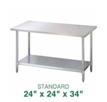 "Stainless Steel Work Table - 24"" x 24"""