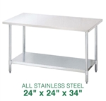 "All Stainless Steel Work Table - 24"" x 24"""