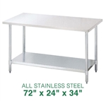 "All Stainless Steel Work Table - 72"" x 24"""