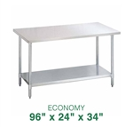 "Economy Stainless Steel Work Table - 96"" x 24"""