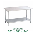 "Economy Stainless Steel Work Table - 30"" x 30"""