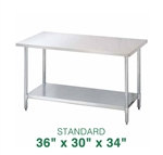 "Stainless Steel Work Table - 36"" x 30"""