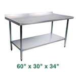 "Stainless Steel Work Table with Backsplash - 60"" x 30"""
