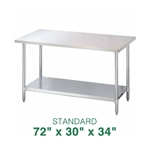 "Stainless Steel Work Table - 72"" x 30"""