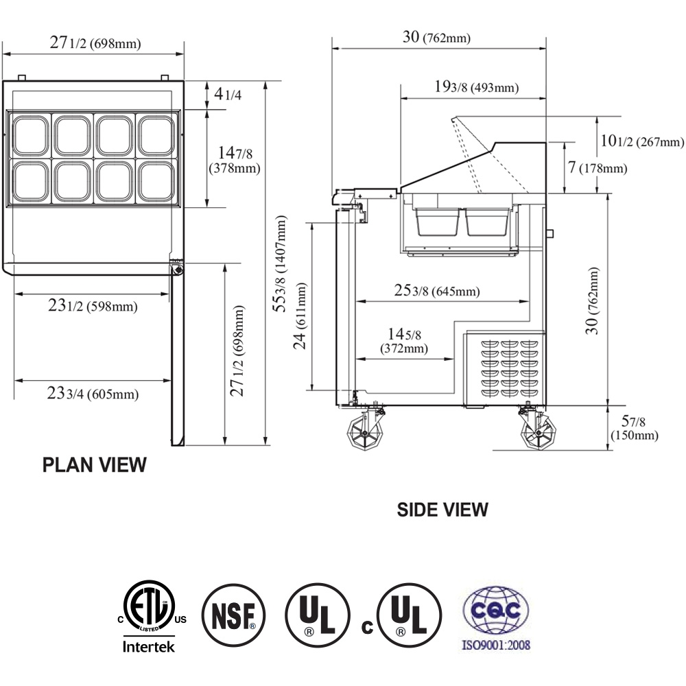 USED - Turbo Air 28-Inch Refrigerated Food Prep Table with (8) 1/6-Sized Manitowoc Qm A Wiring Diagram on