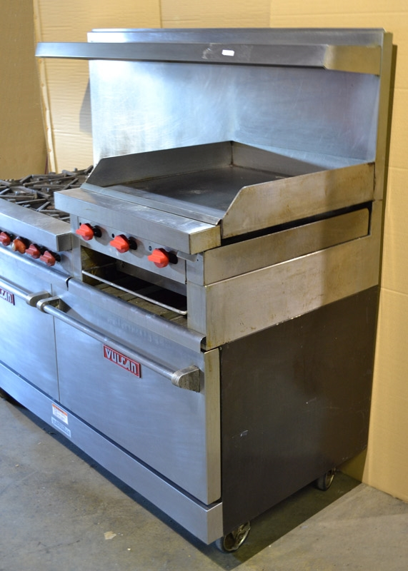 923903c66fb USED - Vulcan 60 Inch Wide 6-Burner Natual Gas Range with 24 Inch Raised  Manual Griddle Broiler and (2) Standand Ovens
