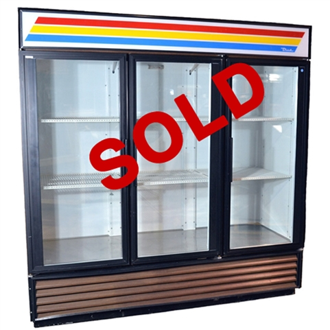 "USED - True GDM-72 Glass Swing Door Merchandiser Refrigerator - 3-Doors - 78-1/8"" Wide"