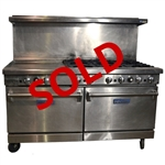 USED - Imperial IR-6-G24 60 Inch Wide Natural Gas Restaurant Range with 6-Burners, left-side 24 Inch manual Griddle, and Double Standard Ovens