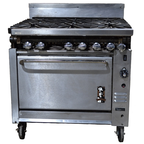 USED - Montague Heavy Duty 6-Burner Range w/Convection Oven- (V136-5)