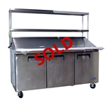 "USED - Atosa Refrigerated Mega Top Prep Table - 3-Door - 72"" Wide with Stainless Steel Double Overshelf (MSF8308)"