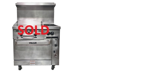 "USED - Vulcan 36 Inch 2-Burner with 24"" Griddle and Convection Oven Commercial Restaurant Range - Nat Gas (36C-24GT2BN)"