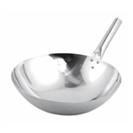 "Winco Chinese Wok - Nailed Joint - Stainless Steel - 16"", (WOK-16N)"