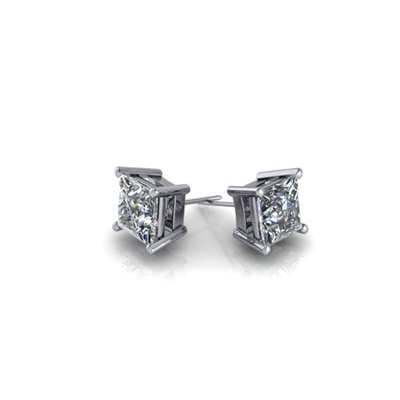 1/2ctw. Basket Set Princess Cut Diamond Studs