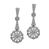 Art Deco Inspired Multi-Diamond Floral Drop
