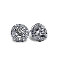 1 9/10ctw. Round Brilliant Diamond Halo Stud Earrings