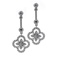 Fleur De Lis Inspired Multi-Diamond Drop Earring