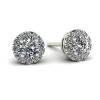 "1/3ctw. Mini ""Angel"" Halo Diamond Stud Earrings in White Gold"