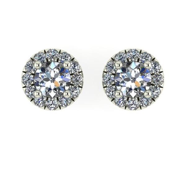 Mini Angel Halo Diamond Stud Earrings In White Gold