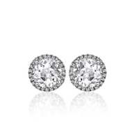"7/8ctw. ""Angel"" Round Brilliant Diamond Halo Stud Earrings"