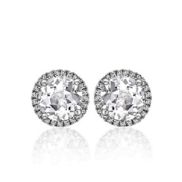 Angel Round Brilliant Diamond Halo Stud Earrings