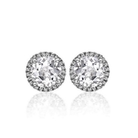 "1ctw. ""Angel"" Round Brilliant Diamond Halo Stud Earrings"