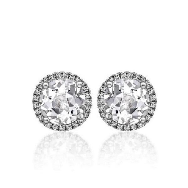 Angel Round Brilliant Diamond Halo Stud Earrings