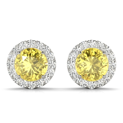 "1ctw. ""Angel"" Round Brilliant Yellow Diamond Halo Stud Earrings"