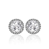 "1 1/4ctw. ""Angel"" Round Brilliant Diamond Halo Stud Earrings"