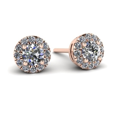 "1/3ctw. Mini ""Angel"" Halo Diamond Stud Earrings in Pink Gold"