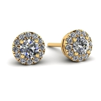 "1/3ctw. Mini ""Angel"" Halo Diamond Stud Earrings in Yellow Gold"