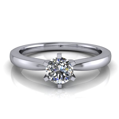 Six Prong Round Edge Solitaire Engagement Ring ½ct.
