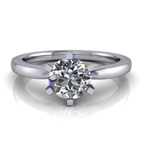 Six Prong Round Edge Solitaire Engagement Ring ¾ct.