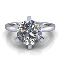 Six Prong Round Edge Solitaire Engagement Ring 1¾ct.