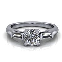 Tapered Baguette Round Brilliant Engagement Ring ½ct.
