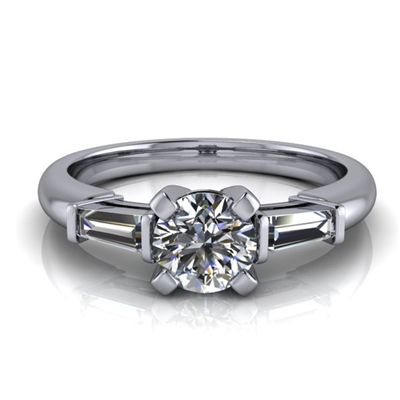 Tapered Baguette Round Brilliant Engagement Ring ¾ct.